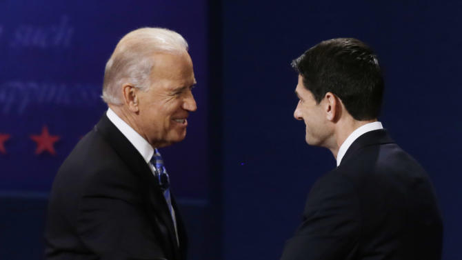 Vice President Joe Biden and Republican vice presidential nominee Rep. Paul Ryan of Wisconsin shake hands after the vice presidential debate at Centre College, Thursday, Oct. 11, 2012, in Danville, Ky. (AP Photo/Mark Humphrey)