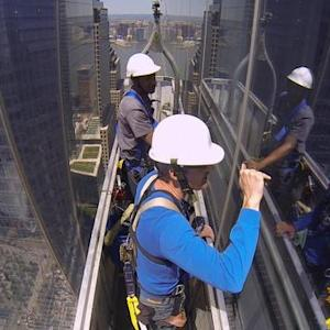 An unobstructed view of window washers