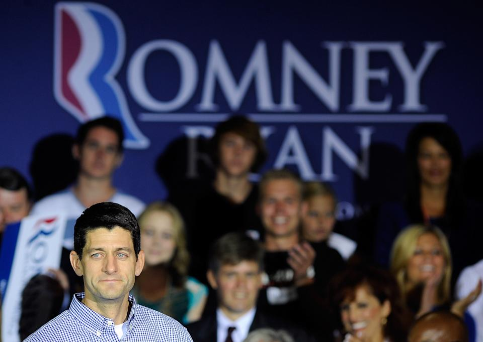 Republican vice presidential candidate, U.S. Rep. Paul Ryan, R-Wis., speaks during a campaign event at Palo Verde High School on Tuesday, Aug. 14, 2012 in Las Vegas. (AP Photo/David Becker)