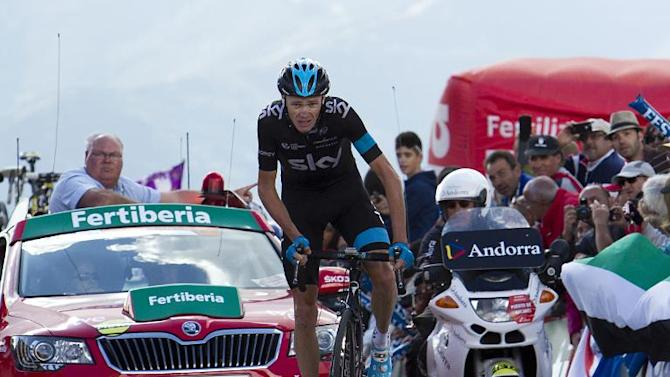 "Chris Froome rides to the finish line during the 20th stage of the 69th edition of ""La Vuelta"" Tour of Spain from Santo Estevo de Ribas de Sil to Puerto de Ancares, on September 13, 2014"
