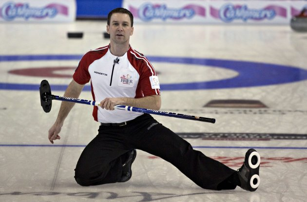 Newfoundland skip Gushue reacts to his shot during the bronze medal game against Ontario at the Canadian Men's Curling Championships  in Edmonton