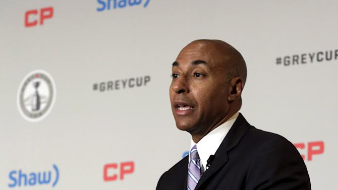 Canadian Football League Commissioner Jeffrey Orridge speaks at a news conference in Winnipeg