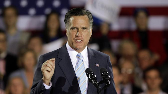 Republican presidential candidate, former Massachusetts Gov. Mitt Romney speaks at an election night rally in Manchester, N.H., Tuesday, April 24, 2012. (AP Photo/Jae C. Hong)