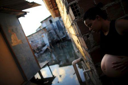 Patricia Araujo, 23, who is seven months pregnant, stands in front of her stilt house, a lake dwelling also known as palafitte or 'Palafito', in Recife