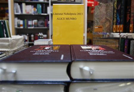 Books by Canadian writer Munro the 2013 Nobel Prize in Literature winner are displayed at a bookshop in Vienna