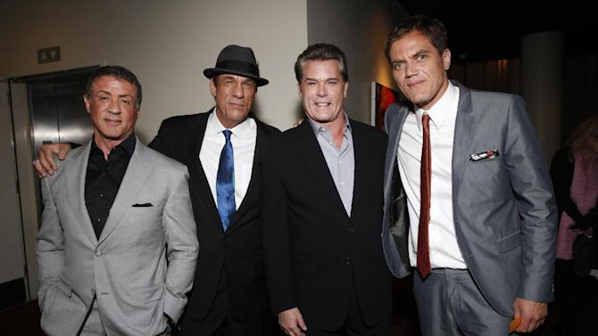 IMAGE DISTRIBUTED FOR MILLENNIUM - From left, Sylvester Stallone, Robert Davi, Ray Liotta and Michael Shannon attend the DeLeon Tequila Premiere of The Iceman at the Arclight on Monday, April 22, 2013 in Los Angeles. (Photo by Todd Williamson/Invision for Millennium/AP Images)