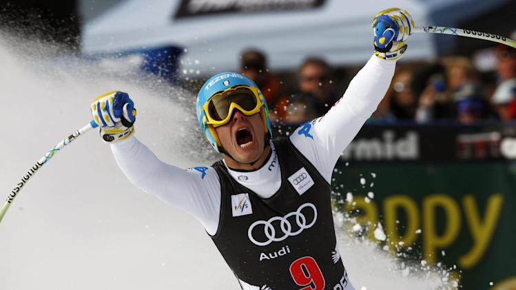 Christof Innerhofer, of Italy, reacts after his run at the men's World Cup downhill ski race in Beaver Creek, Colo., on Friday, Nov. 30, 2012. (AP Photo/Alessandro Trovati)