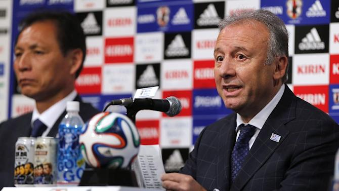 Japan soccer national team coach Alberto Zaccheroni, right, announces the national team lineup for the World Cup during a press conference in Tokyo, Monday, May 12, 2014. Japan is drawn in a Group C with Ivory Coast, Greece and Colombia at the World Cup in Brazil. At left is Japan's Technical Director Hiromi Hara