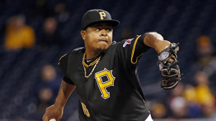 Pittsburgh Pirates starting pitcher Edinson Volquez delivers during the first inning inning of a baseball game against the Milwaukee Brewers in Pittsburgh, Thursday, April 17, 2014. (AP Photo/Gene J. Puskar)