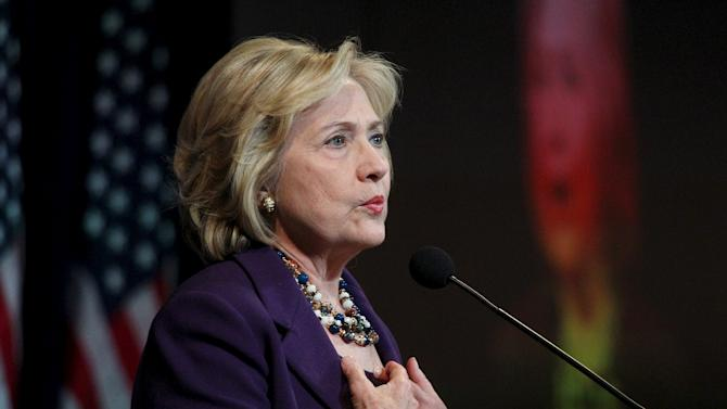U.S. Democratic presidential candidate Hillary Clinton speaks at the New Hampshire Democratic Party's Jefferson Jackson dinner in Manchester