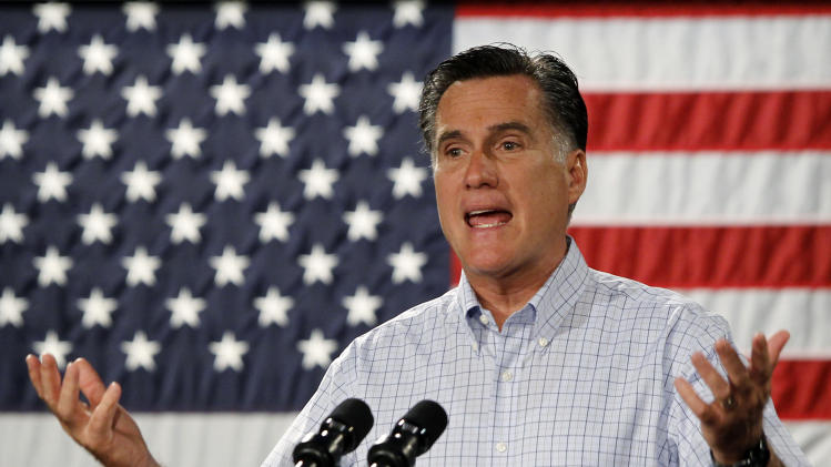 Republican presidential candidate, former Massachusetts Gov. Mitt Romney campaigns at Central Campus High School in Des Moines, Iowa, Wednesday, Aug. 8, 2012. (AP Photo/Charles Dharapak)