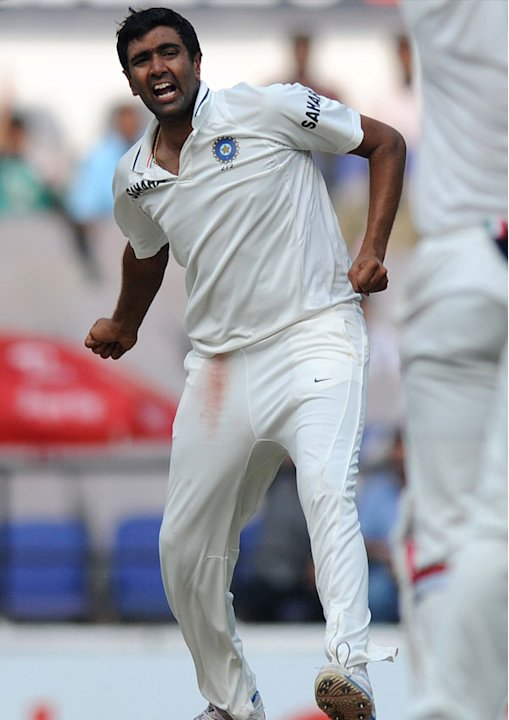 Ashwin celebrates after taking a wicket on Day 4 of the fourth cricket Test between India and England at the Jamtha Stadium in Nagpur, Sunday,   December 16, 2012. (c) BCCI