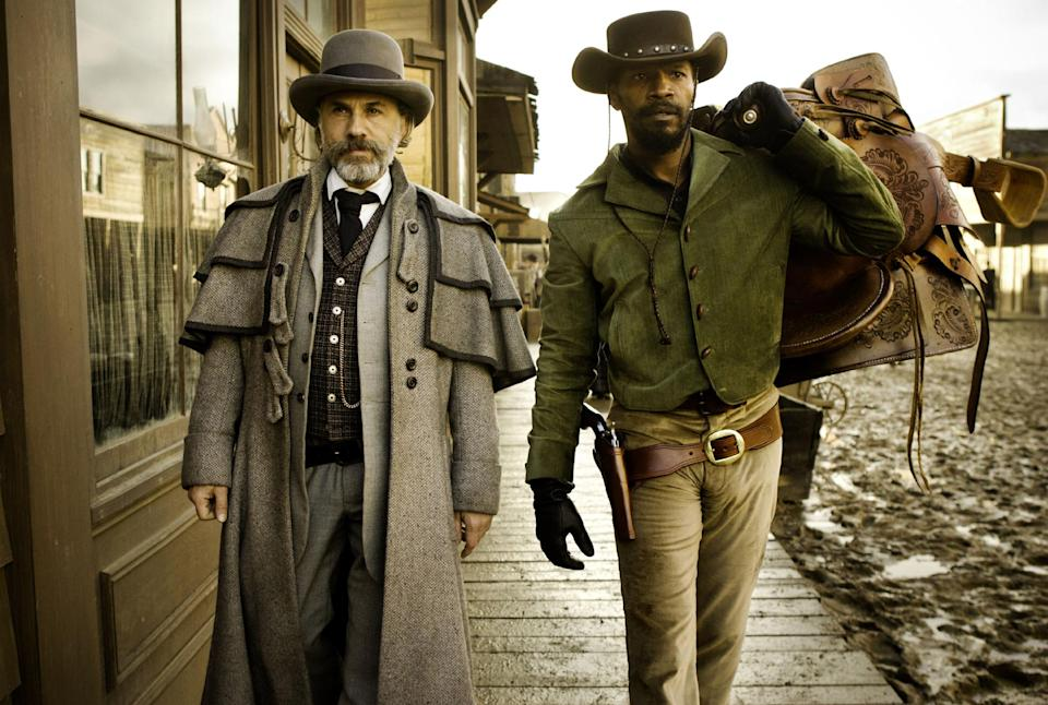 "FILE - This undated publicity image released by The Weinstein Company shows, from left, Christoph Waltz as Schultz and Jamie Foxx as Django in ""Django Unchained,"" directed by Quentin Tarantino. The film centers on a slave trying to rescue his wife from a Mississippi plantation. (AP Photo/The Weinstein Company, Andrew Cooper, SMPSP, File)"