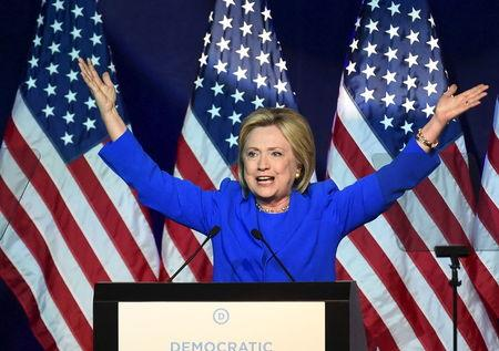 Democratic presidential candidate Clinton addresses the Democratic National Committee (DNC) Summer Meeting in Minneapolis