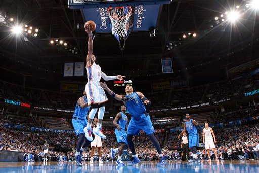 OKLAHOMA CITY, OK - FEBRUARY 4:  Russell Westbrook #0 of the Oklahoma City Thunder shoots a layup againsy Shawn Marion #0 of the Dallas Mavericks on February 4, 2013 at the Chesapeake Energy Arena in Oklahoma City, Oklahoma. (Photo by Layne Murdoch/NBAE via Getty Images)