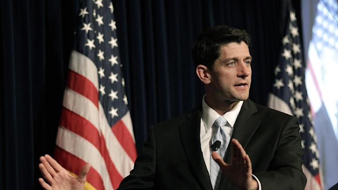 House Budget Committee chairman Rep. Paul Ryan, R-Wis., speaks at The Ronald Reagan Presidential Library in Simi Valley, Calif., Tuesday, May 22, 2012. Ryan, a potential pick to join Mitt Romney's presidential ticket, blamed President Barack Obama on Tuesday for anemic job growth and unchecked spending and debt that he said are pushing the nation toward decline. (AP Photo/Jae C. Hong)