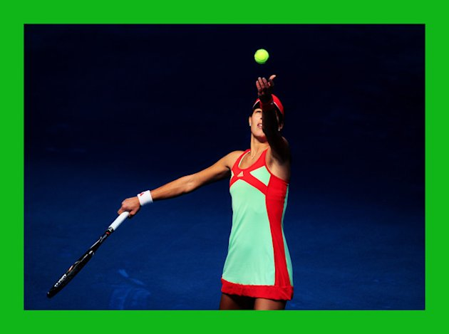 Ana Ivanovic Of Serbia Serves Getty Images