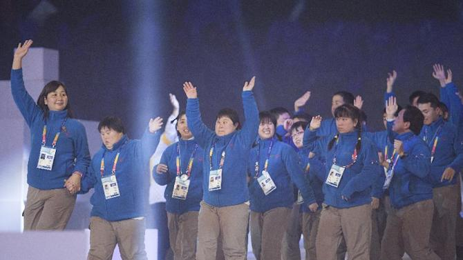 Japan`s Special Olympics team enters Arena stage at the YongPyong dome during the 2013 Special Olympics World Winter Games opening ceremony in PyeongChang, South Korea on Tuesday, Jan. 29, 2013. About 2,300 athletes from 110 countries are participating in seven sports, such as snowboarding, alpine skiing and figure skating, and one demonstration sport, floorball. (Manchul Kim/AP Images for Special Olympics)