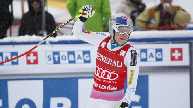 Lindsey Vonn, of the United States, reacts in the finish area following her run in the women's World Cup downhill ski race in Lake Louise, Alberta, Friday, Nov. 30, 2012.(AP Photo/The Canadian Press, Jeff McIntosh)