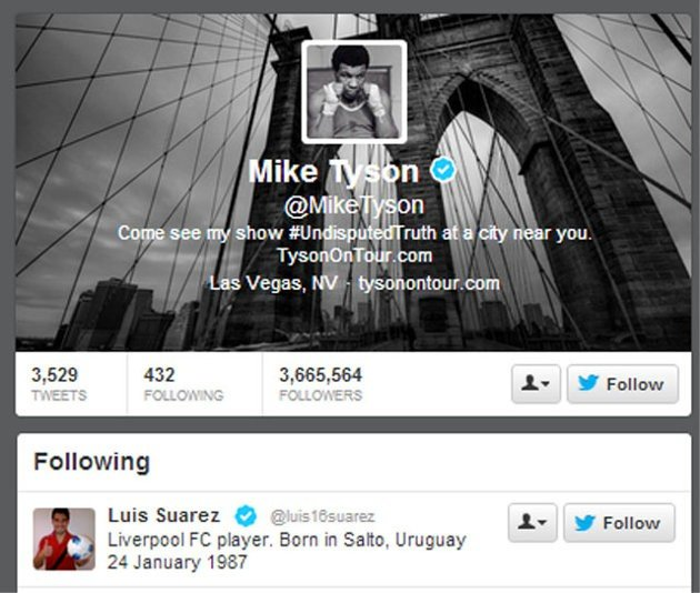 Suarez come Tyson! Iron Mike lo segue su Twitter…