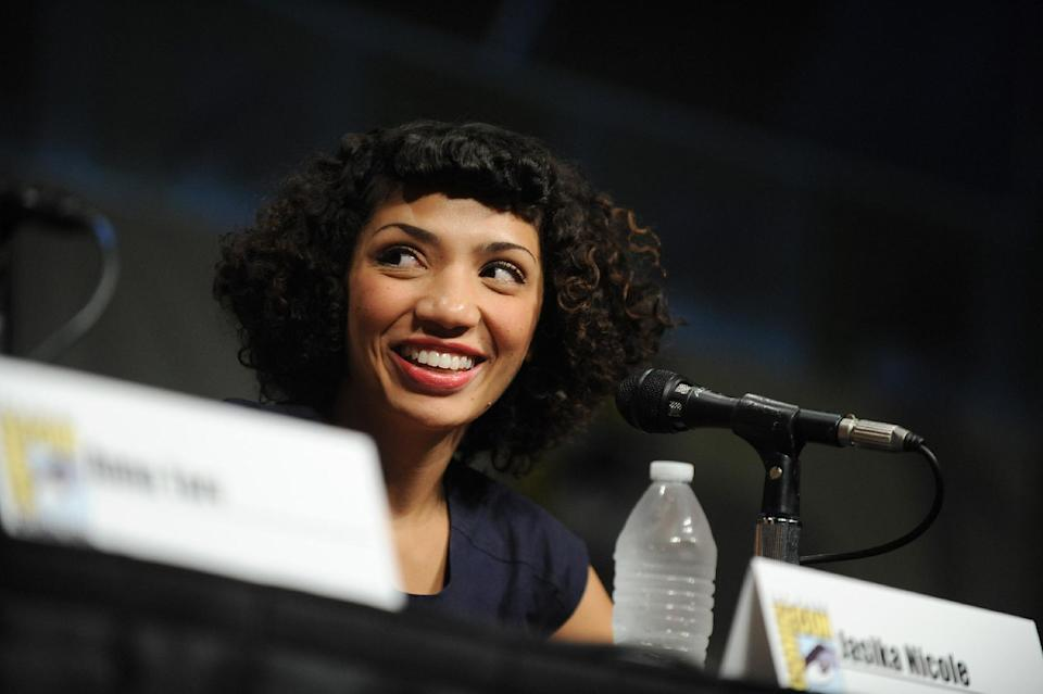"Jasika Nicole speaks at the ""Fringe"" screening and panel at Comic-Con on Sunday, July 15, 2012 in San Diego. (Photo by Jordan Strauss/Invision/AP)"