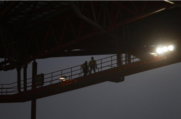 Fireman's brigade inspects the stadium roof before Portuguese Premier League soccer match at Luz stadium in Lisbon