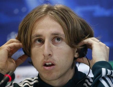 Real Madrid's Modric listens to a question during a news conference outside Madrid
