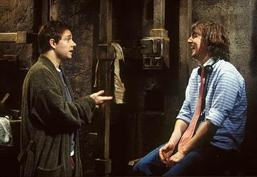Martin Freeman and director Garth Jennings on the set of Touchstone Pictures' The Hitchhiker's Guide to the Galaxy