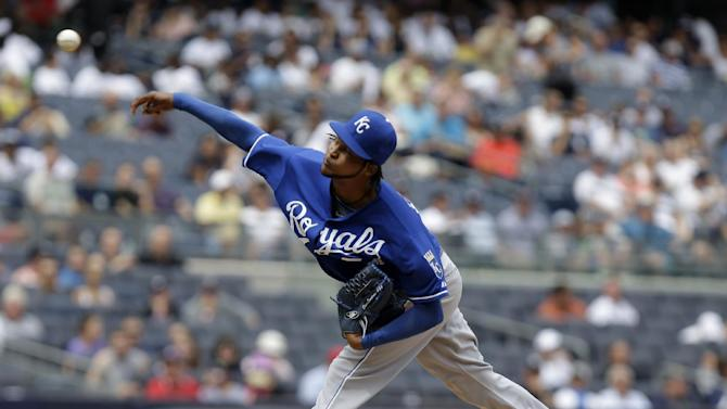Kansas City Royals starting pitcher Ervin Santana pitches during the fifth inning of a baseball game against the New York Yankees at Yankee Stadium Thursday, July 11, 2013 in New York. (AP Photo/Seth Wenig)