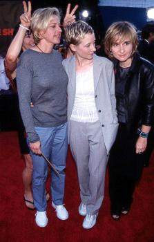 Premiere: Ellen DeGeneres, Anne Heche and Melissa Etheridge have their dignified moment playfully spoiled by Julie Cypher at the LA premiere for Eyes Wide Shut Photo by Jeff Vespa/Wireimage.com