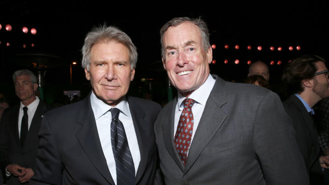 """Harrison Ford and John C. McGinley attend the after party for the LA premiere of """"42"""" at the TCL Chinese Theater on Tuesday, April 9, 2013 in Los Angeles. (Photo by Todd Williamson /Invision/AP)"""