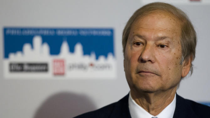 Lewis Katz speaks during a news conference Monday, April 2, 2012, in Philadelphia. Katz is part of group of powerful business leaders that announced Monday that they have closed a deal to purchase Philadelphia's two largest newspapers from hedge funds for approximately $55 million, a fraction of what investors paid for them in 2006. (AP Photo/Matt Rourke)