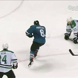 Joe Pavelski whips a backhander past Lehtonen
