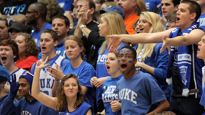 Duke fans show their support during the Blue Devils' 90-77 win over Santa Clara in an NCAA college basketball game in Durham, N.C., Saturday, Dec. 29, 2012.  (AP Photo/Ted Richardson)