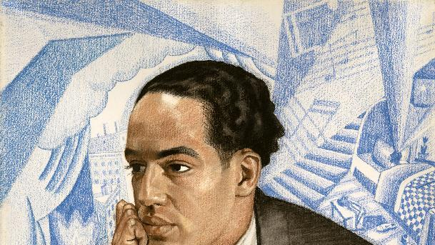 """This handout image provided by the National Portrait Gallery is a pastel on illustration board showing Langston Hughes, Winold Reiss. America often knows the names but not the faces of its great poets. Now the Smithsonian's National Portrait Gallery is introducing dozens of 20th century poets to Washington visitors. """"Poetic Likeness: Modern American Poets"""" opens Friday and will be on view through April. (AP Photo/National Portrait Gallery)"""