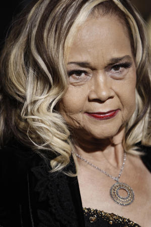 """FILE - This Nov. 24, 2008 file photo shows Etta James arriving at the premiere of """"Cadillac Records"""" in Los Angeles. ``At Last'' and ``Tell Mama'' blues singer Etta James, whose health has been fading in recent years, is now terminally ill and her live-in doctor is asking for prayers. Dr. Elaine James, who isn't related to the 73-year-old entertainer, tells the Riverside, Calif., Press-Enterprise that the singer's chronic leukemia was declared incurable two weeks ago. She's cared for James at the singer's Riverside area home since March 2010.  (AP Photo/Matt Sayles, File)"""