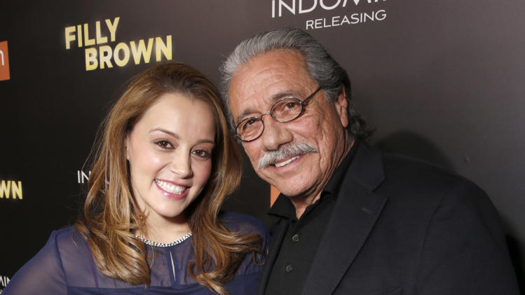 "IMAGE DISTRIBUTED FOR PANTELION FILMS - Rosie Rivera and Edward James Olmos attend Pantelion's ""Filly Brown"" Los Angeles Premiere Hosted by the Rivera Family at the Regal LA Live Stadium on Wednesday, April 17, 2013 in Los Angeles. (Photo by Todd Williamson/Invision for Pantelion Films/AP Images)"