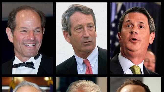 """Former New York Congressman Anthony Weiner, bottom right, announced Wednesday, April 10, 2013 that he is considering jumping into the New York City mayor's race. Weiner's downfall came in 2011 after a photo of a man's underwear-clad crotch appeared on his Twitter account. Other politicians who have who have sought second chances after sexual indiscretions, from top left; Eliot Spitzer, who resigned as governor of New York in 2008 in a call-girl scandal; former South Carolina Gov. Mark Sanford, who admitted in 2009 that he was having an extramarital affair with an Argentine woman and lied about his whereabouts; David Vitter, who won a second term as a Republican senator from Louisiana in 2010, three years after he was identified as a client of a prostitution service in what was dubbed the """"DC Madam"""" scandal; bottom row from left; Barney Frank, former congressman from Massachusetts, whose career was almost derailed in 1989 after he admitted to a relationship with a male prostitute; and President Bill Clinton, who was impeached by the House in 1998 but acquitted by the Senate over his relationship with White House intern Monica Lewinsky. (AP Photos/File)"""