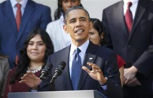 U.S. President Barack Obama speaks about healthcare from the Rose Garden of the White House in Washington