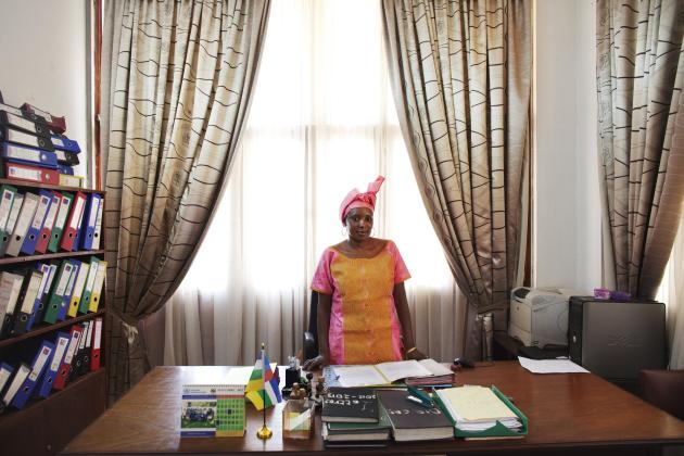 Kaltouma Abderaman, private secretary to the Minister of Health, poses for a picture in her office in Bangui, Central African Republic