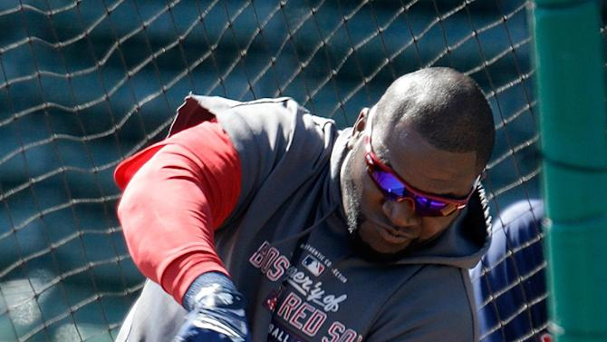 Boston Red Sox's David Ortiz takes batting practice during a spring training baseball workout, Thursday, March 7, 2013, in Fort Myers, Fla. (AP Photo/David Goldman)
