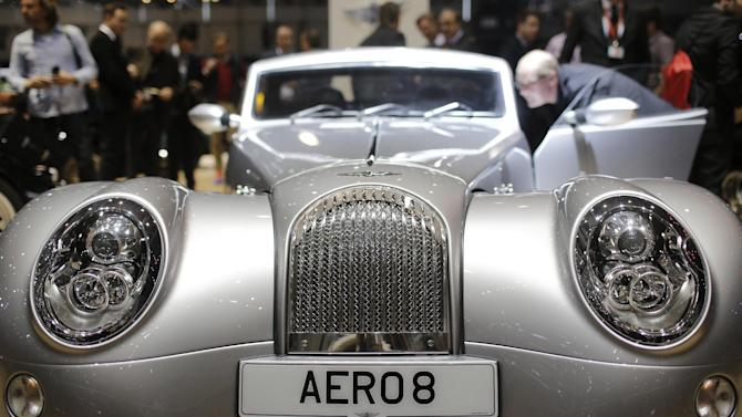 The new Morgan Aero 8 is on display on the first press day of the Geneva International Motor Show Tuesday, March 3, 2015 in Geneva, Switzerland. The show opens its doors to the public March 5 through March 15. (AP Photo/Laurent Cipriani)