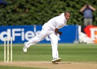 South Africa bowler Vernon Philander bowls during a Test against New Zealand in Wellington in March. South Africa have some heavy artillery for the England Test, including Philander, who has taken 51 wickets at an average of 14.15 since making his debut against Australia last November