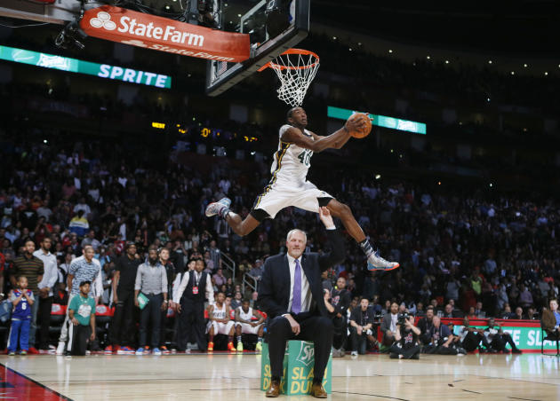 West All-Star Jeremy Evans of the Utah Jazz competes in the slam dunk contest during the NBA basketball All-Star weekend in Houston