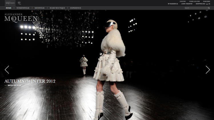 The revamped Alexander McQueen website