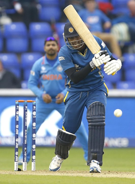 Sri Lanka's Angelo Mathews plays a shot off the bowling of India's Ishant Sharma during an ICC Champions Trophy semifinal between India and Sri Lanka at the Cardiff Wales Stadium in Cardiff, Thursday,