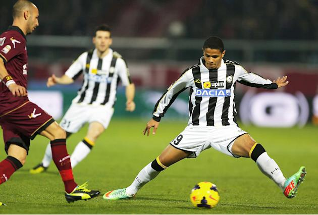 Udinese's Justino Do Santos, of Brazil, controls the ball during a Serie A soccer match between Livorno and Udinese, in Leghorn, Italy, Saturday, Dec. 21, 2013