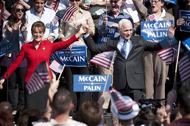 "Julianne Moore as Sarah Palin and Ed Harris as John McCain in ""Game Change."""