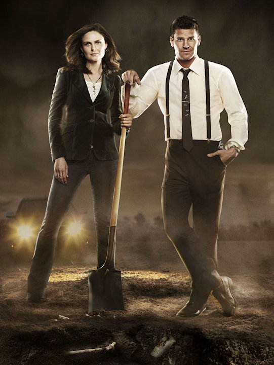 "Emily Deschanel stars as Dr. Temperance Brennan and David Boreanaz stars as FBI Special Agent Seeley Booth in ""Bones."""