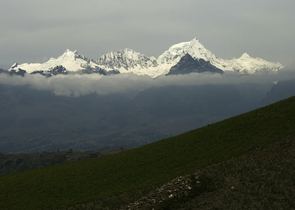 The ice-capped peaks of the Cordillera Blanca mountain range in Peru, seen in 2007.